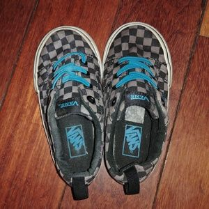 VANS checkered black and blue no tie shoes sz 7